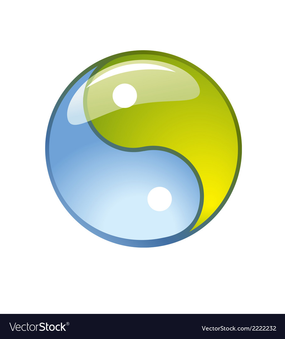 Blue creative yin-yang symbol logo vector | Price: 1 Credit (USD $1)