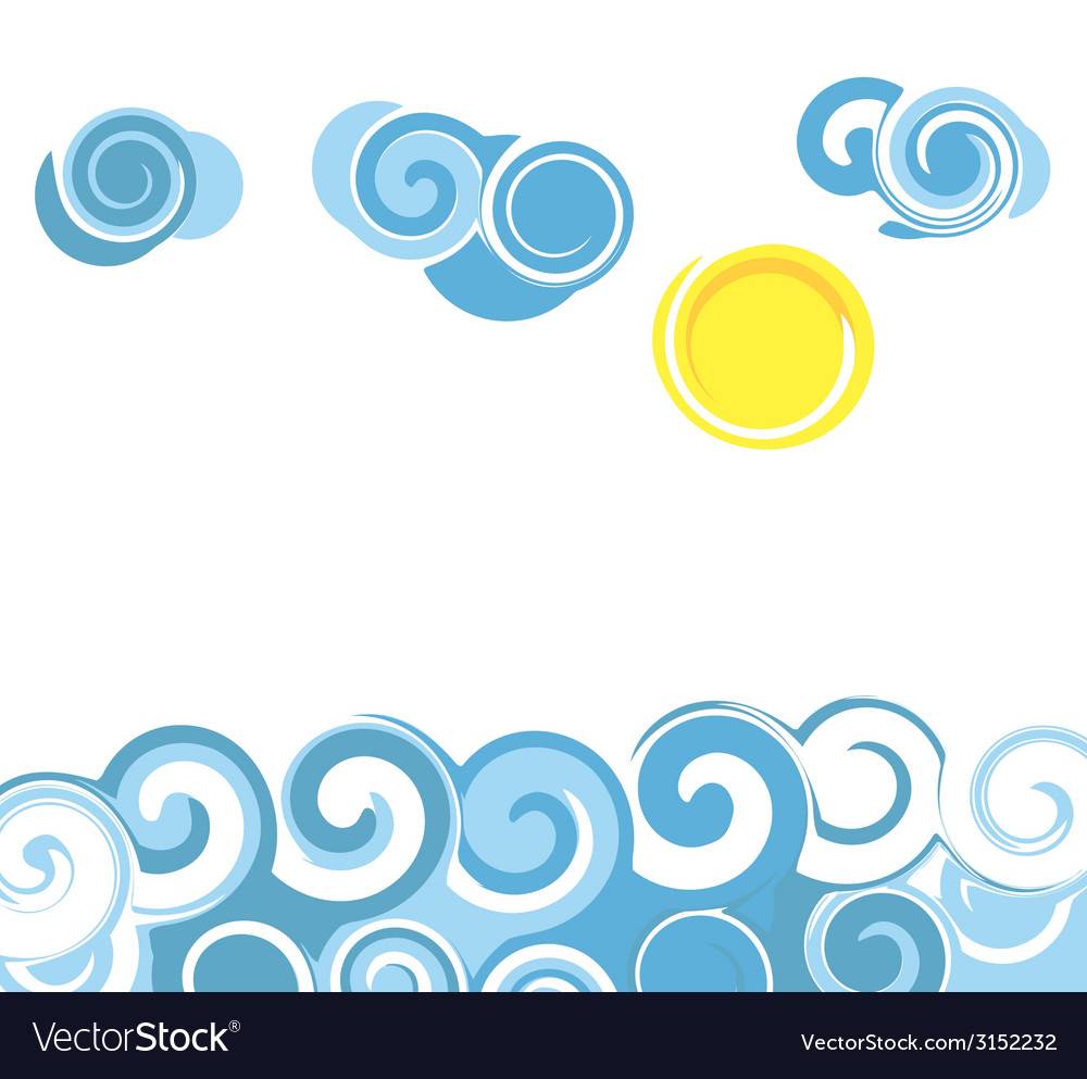 Cartoon sea waves vector | Price: 1 Credit (USD $1)