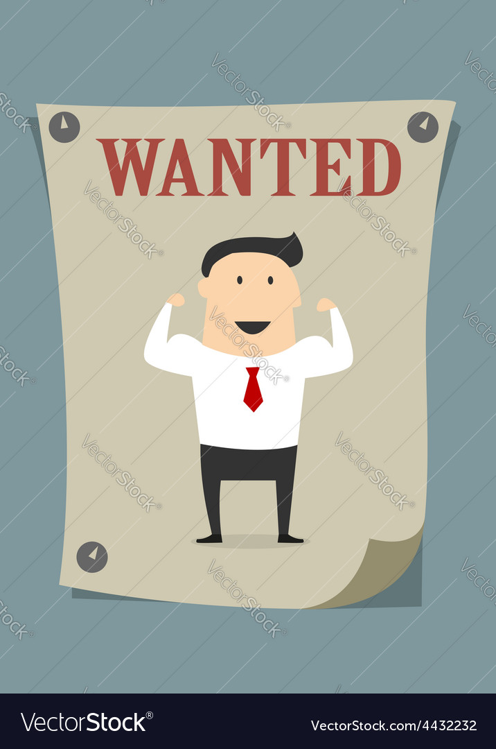 Confident businessman in wanted poster vector | Price: 1 Credit (USD $1)