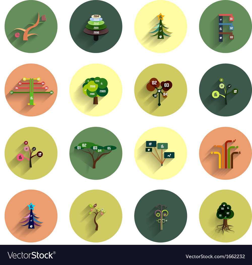 Flat eco tree infographic icon design templates vector | Price: 1 Credit (USD $1)
