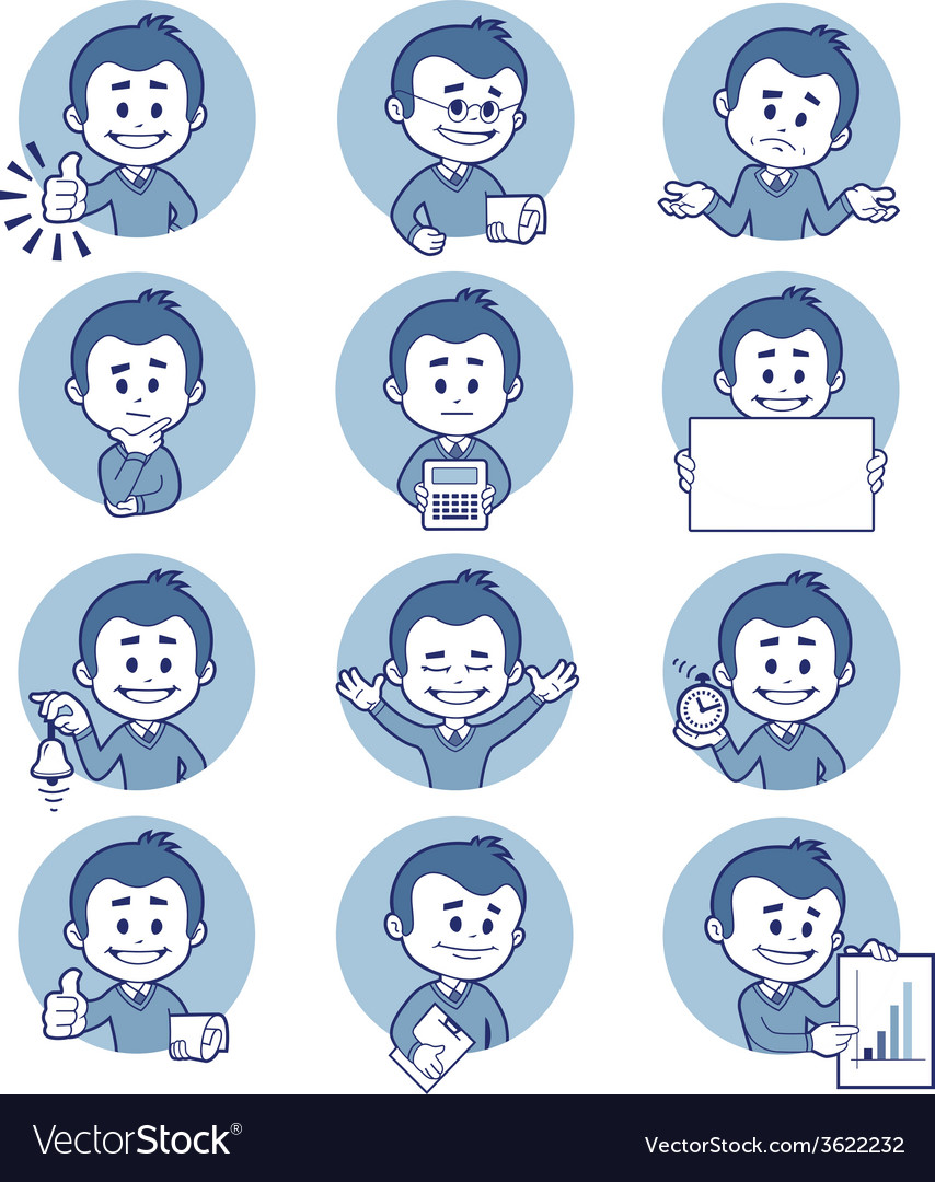 Flat people icons with business characters vector | Price: 1 Credit (USD $1)