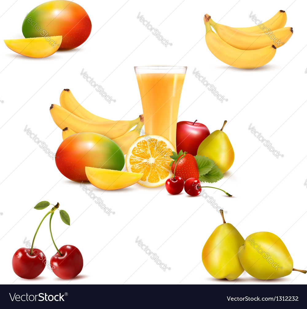 Group of summer and tropical fruit vector | Price: 3 Credit (USD $3)