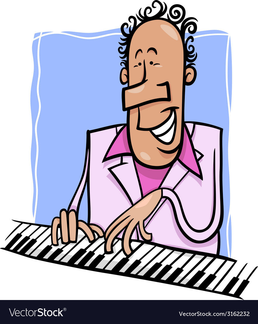 Jazz pianist cartoon vector | Price: 1 Credit (USD $1)