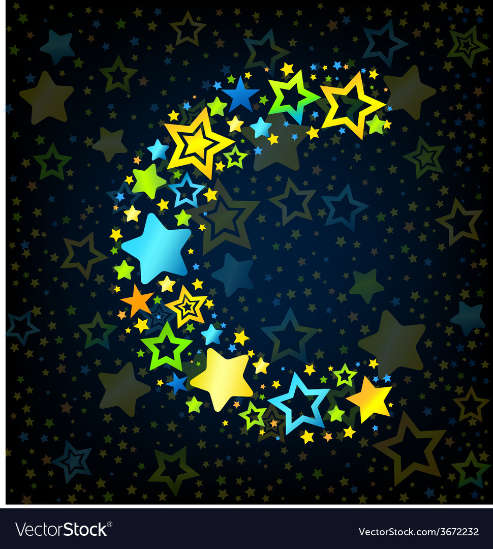 Letter c cartoon star colored vector | Price: 1 Credit (USD $1)