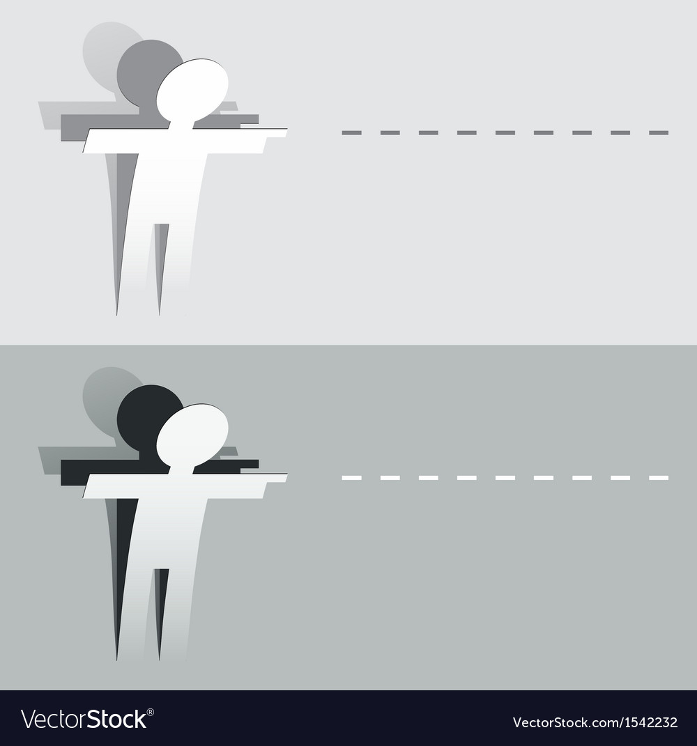 Paper cut pointing human figure vector | Price: 1 Credit (USD $1)