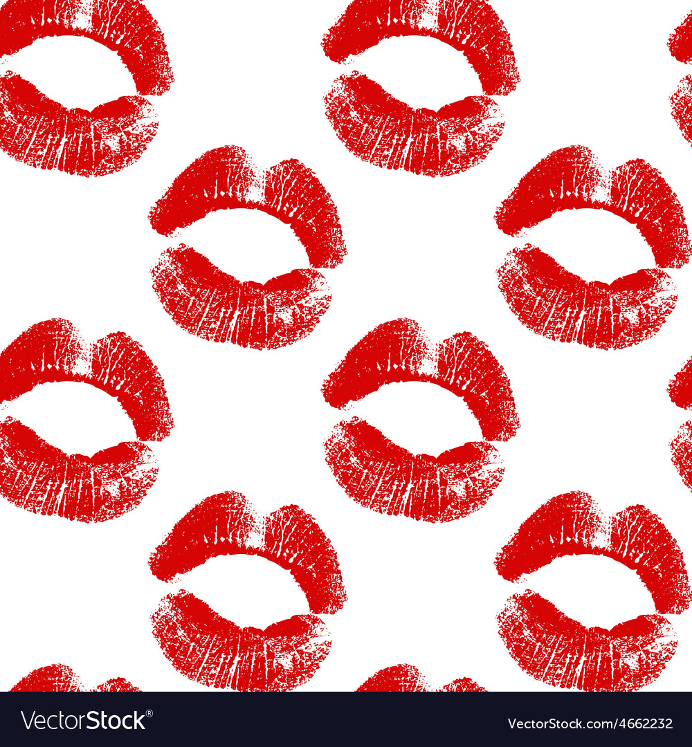 Seamless background red lips prints vector | Price: 1 Credit (USD $1)