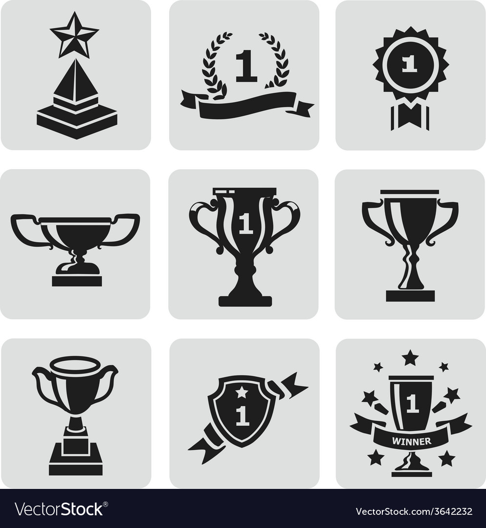 Set of black trophy and awards icons vector | Price: 1 Credit (USD $1)