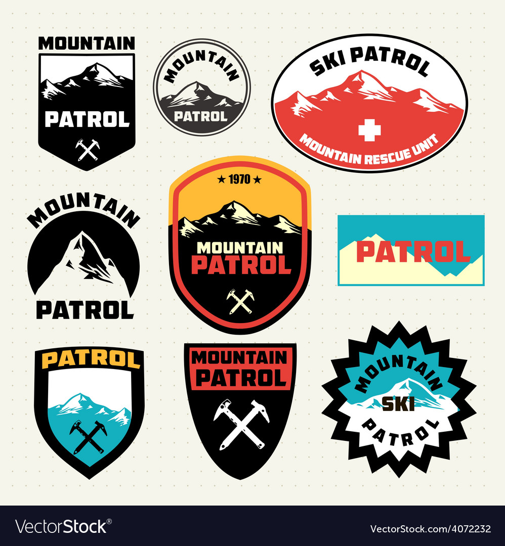 Set of ski patrol mountain badges and logo patches vector | Price: 1 Credit (USD $1)