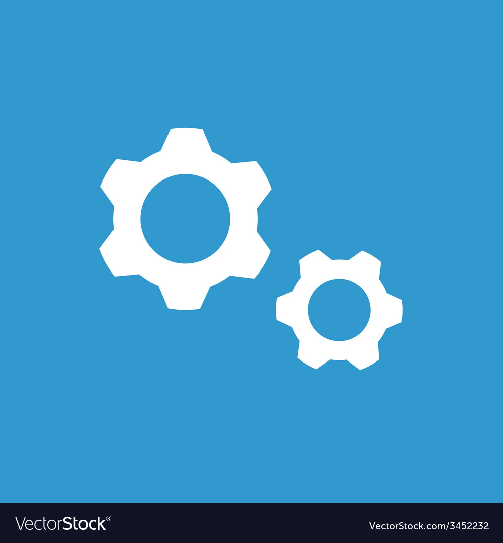 Settings icon white on the blue background vector | Price: 1 Credit (USD $1)