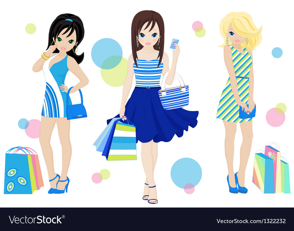 Shopping girls vector | Price: 3 Credit (USD $3)