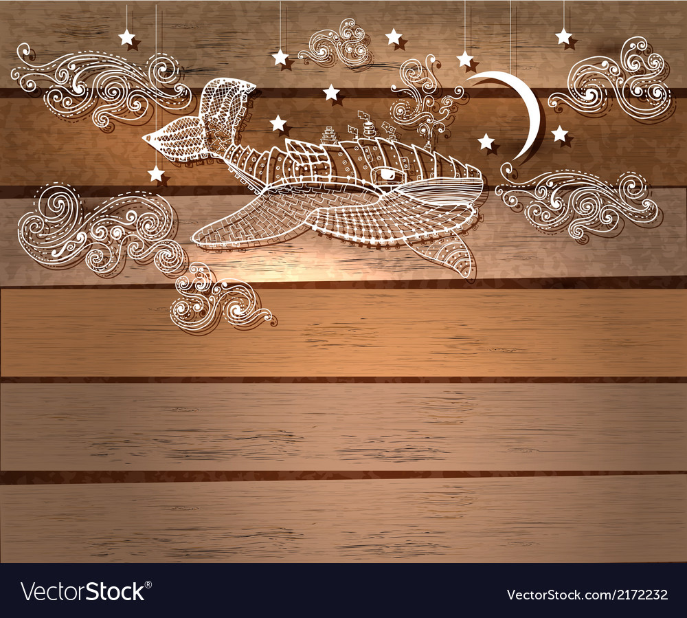 Steampunk whale in night sky with stars and moon vector | Price: 1 Credit (USD $1)