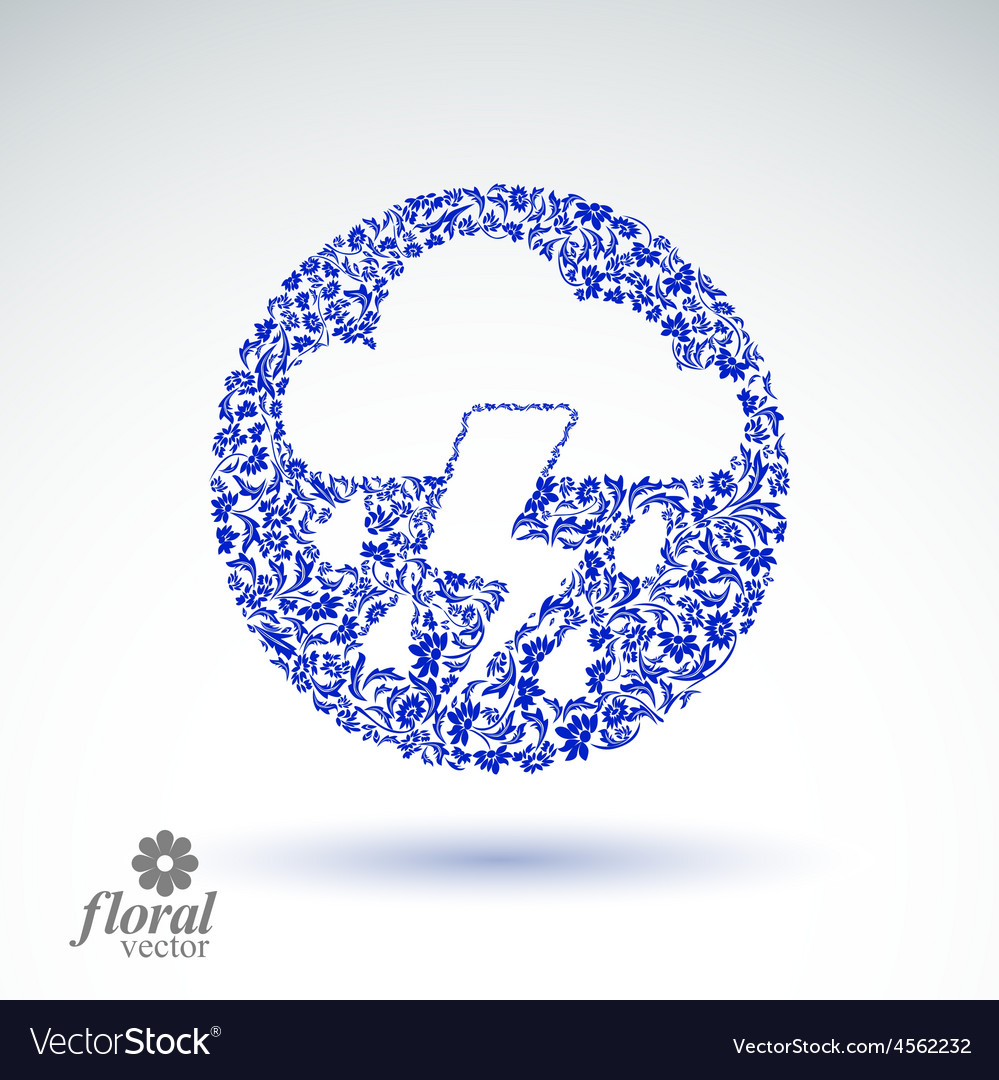 Thunder and lightning meteorology pictogram vector | Price: 1 Credit (USD $1)