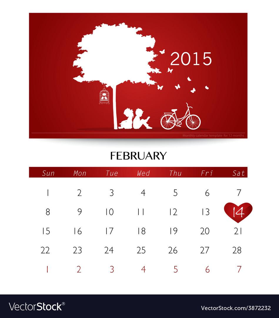 Valentines day 2015 calendar february vector | Price: 1 Credit (USD $1)