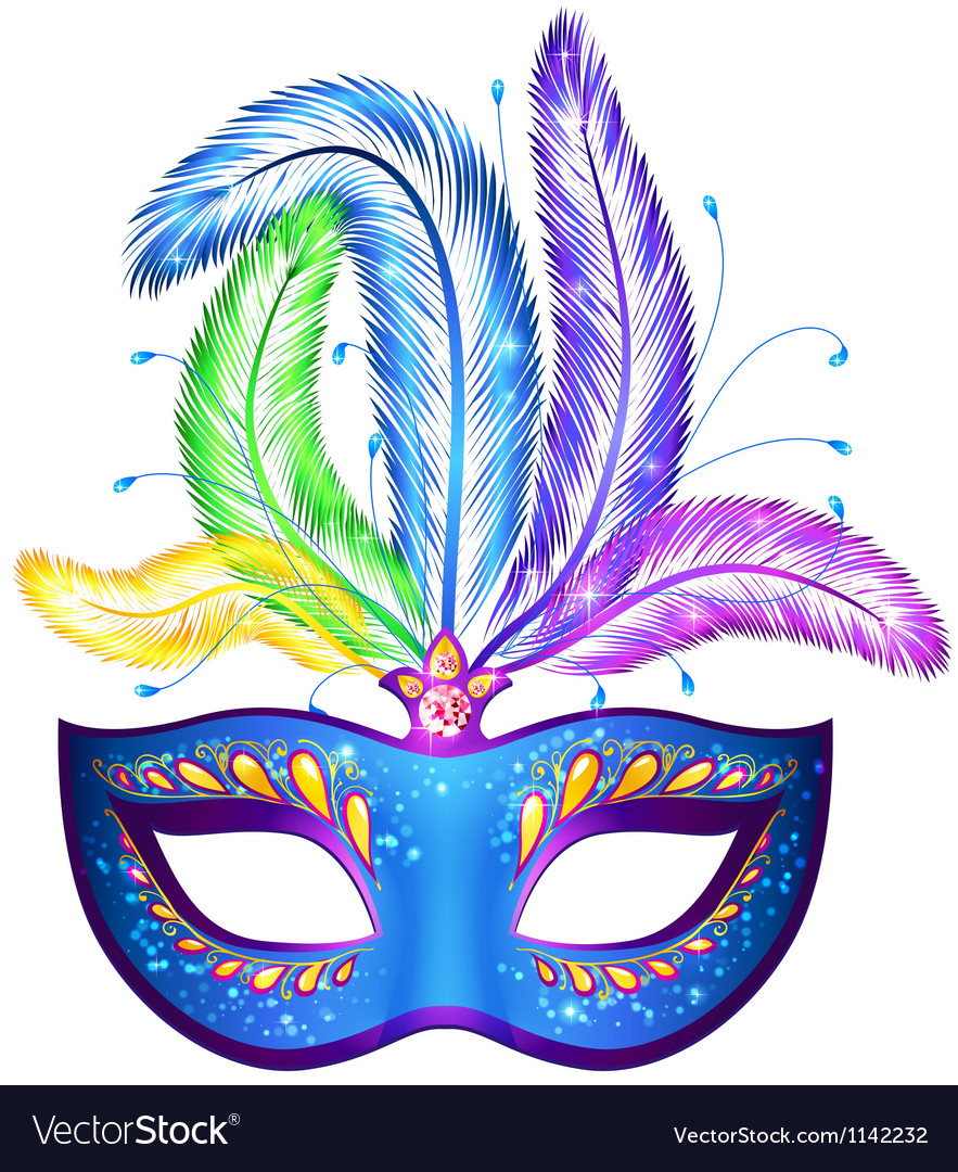Venitian carnival mask with feathers vector | Price: 1 Credit (USD $1)