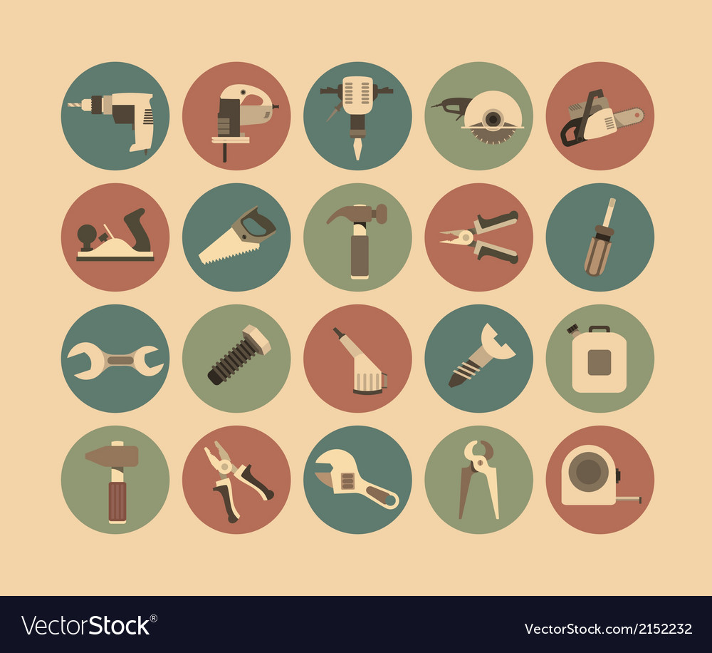 Working tools flat icon set vector | Price: 1 Credit (USD $1)