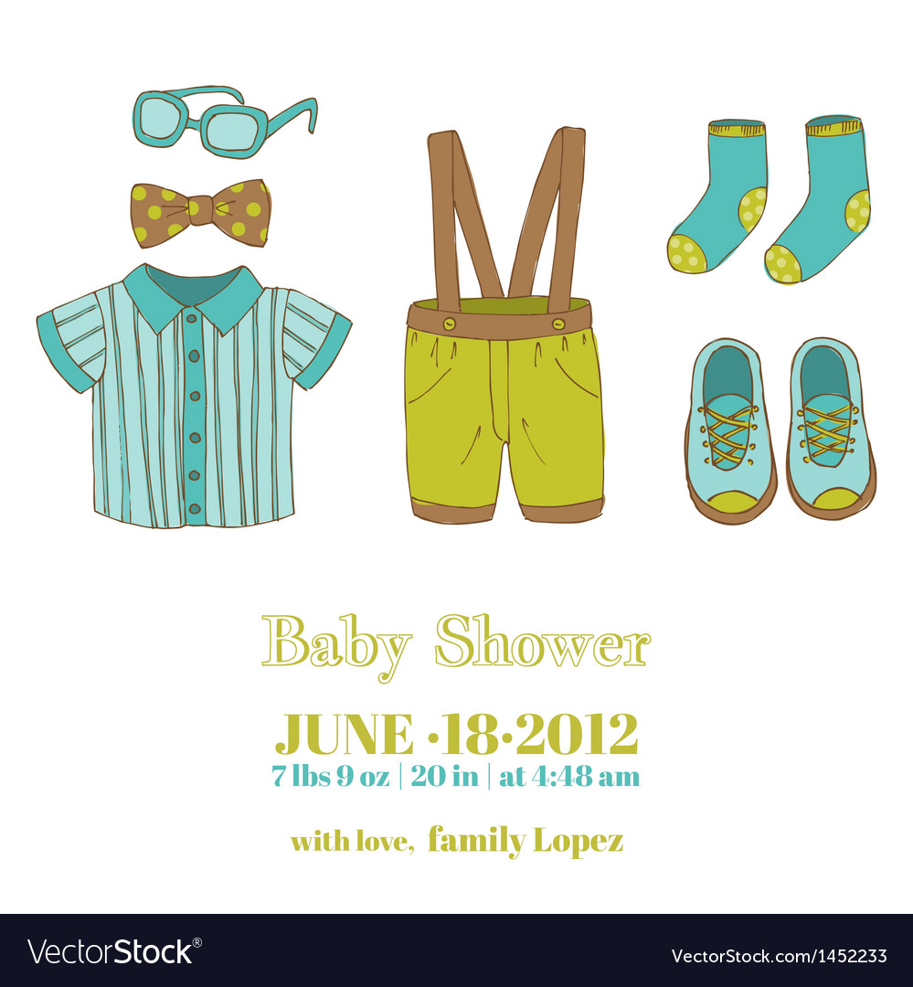 Baby boy shower and arrival card vector | Price: 1 Credit (USD $1)