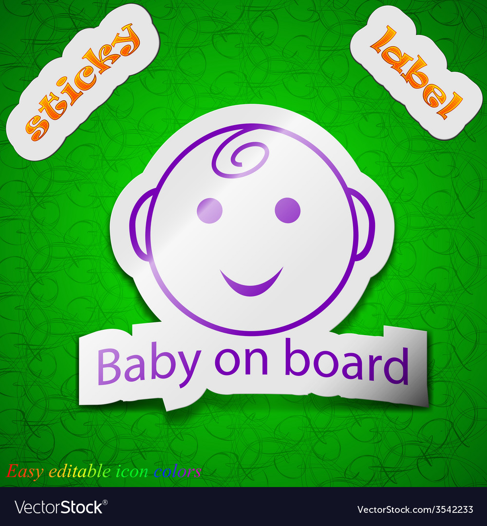 Baby on board icon sign symbol chic colored sticky vector | Price: 1 Credit (USD $1)