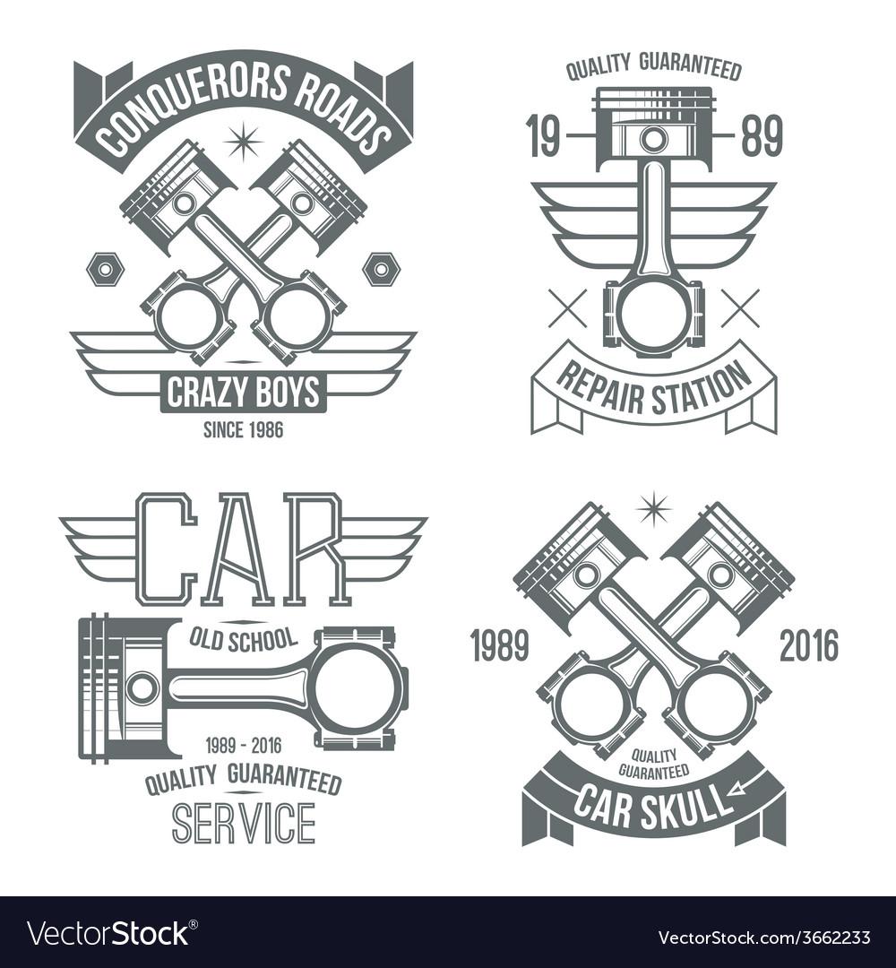 Car engine piston emblems vector | Price: 1 Credit (USD $1)