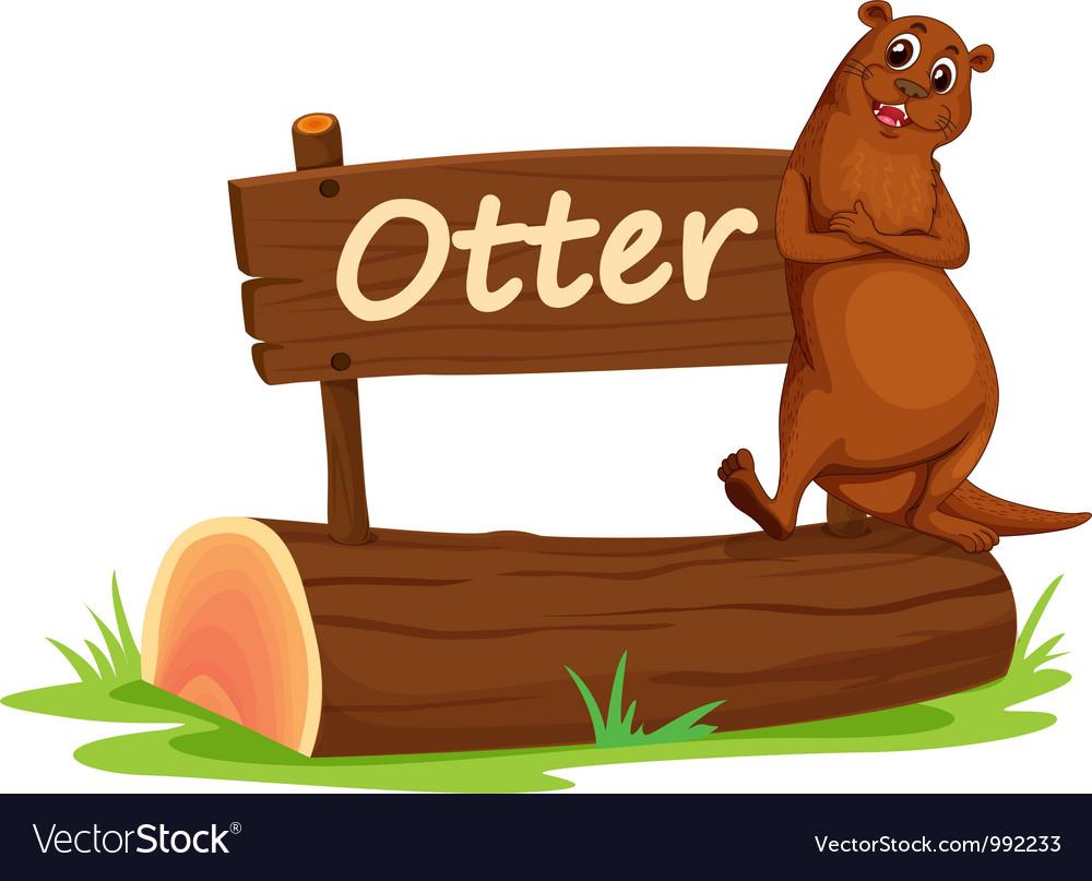 Cartoon zoo otter sign vector | Price: 1 Credit (USD $1)