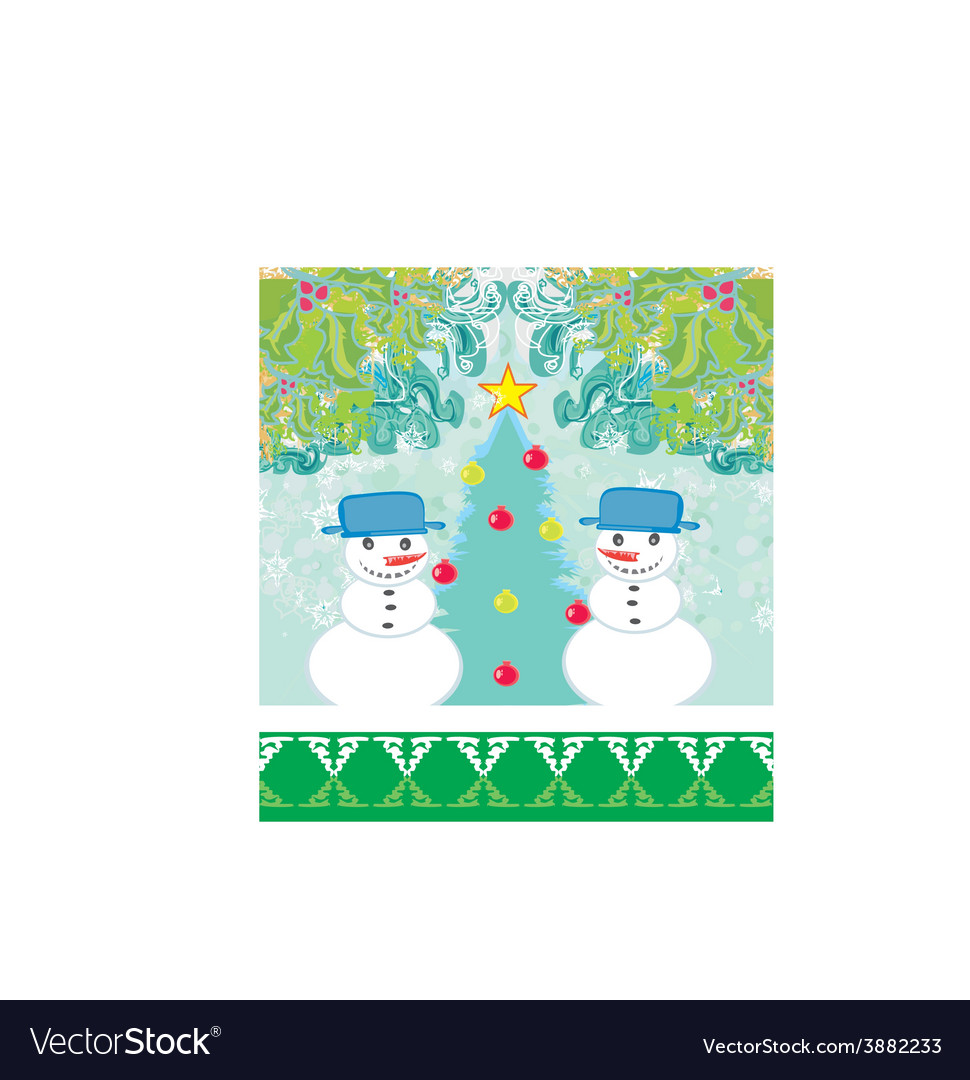 Christmas card with two funny snowmen vector | Price: 1 Credit (USD $1)