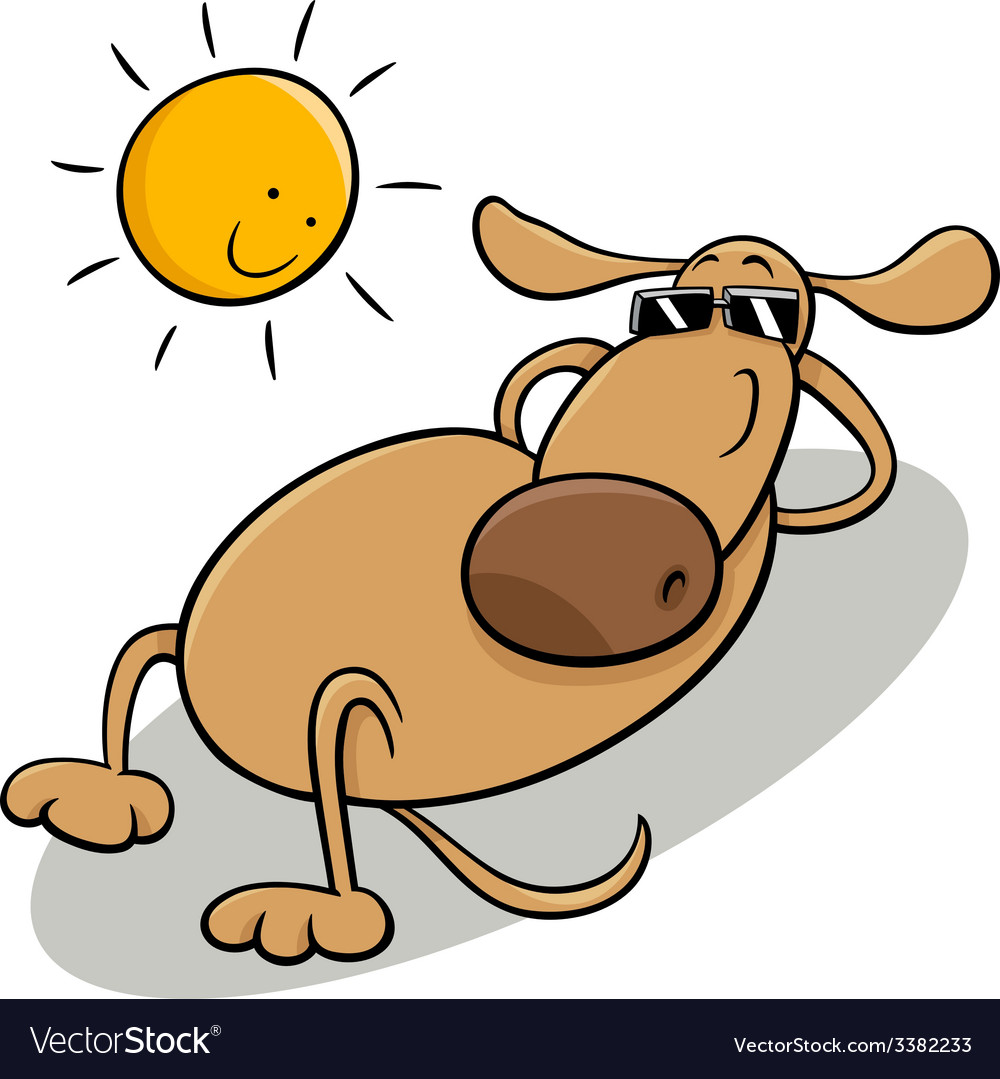 Dog taking sunbath cartoon vector | Price: 1 Credit (USD $1)