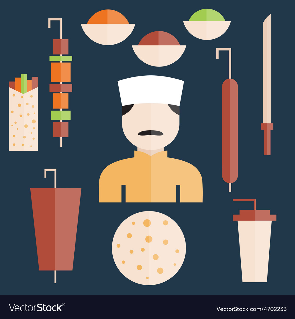 Flat design doner kebab elements and chef vector | Price: 1 Credit (USD $1)