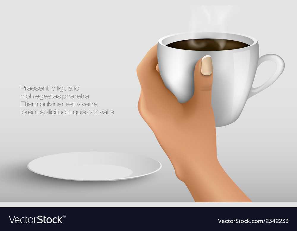 Hand holding a cup of cocoa vector | Price: 1 Credit (USD $1)