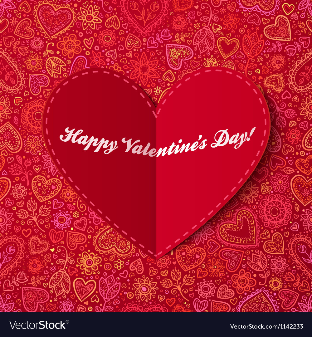 Heart from paper valentines day card vector | Price: 1 Credit (USD $1)
