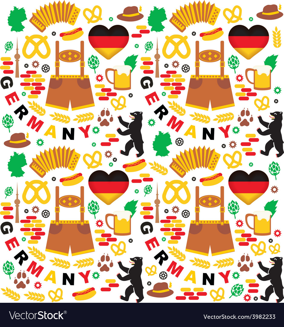 Pattern with germany icons vector | Price: 1 Credit (USD $1)