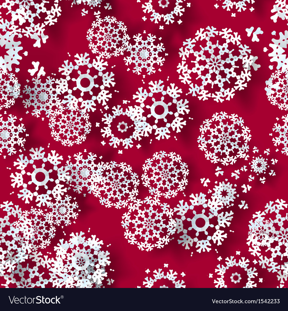 Red with blue paper christmas snowflakes vector | Price: 1 Credit (USD $1)