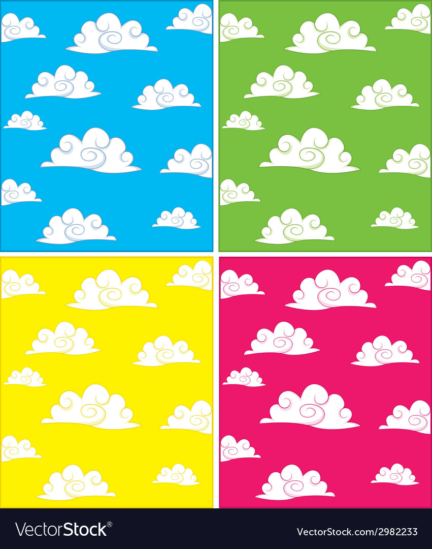 Set of cloud backgrounds vector | Price: 1 Credit (USD $1)