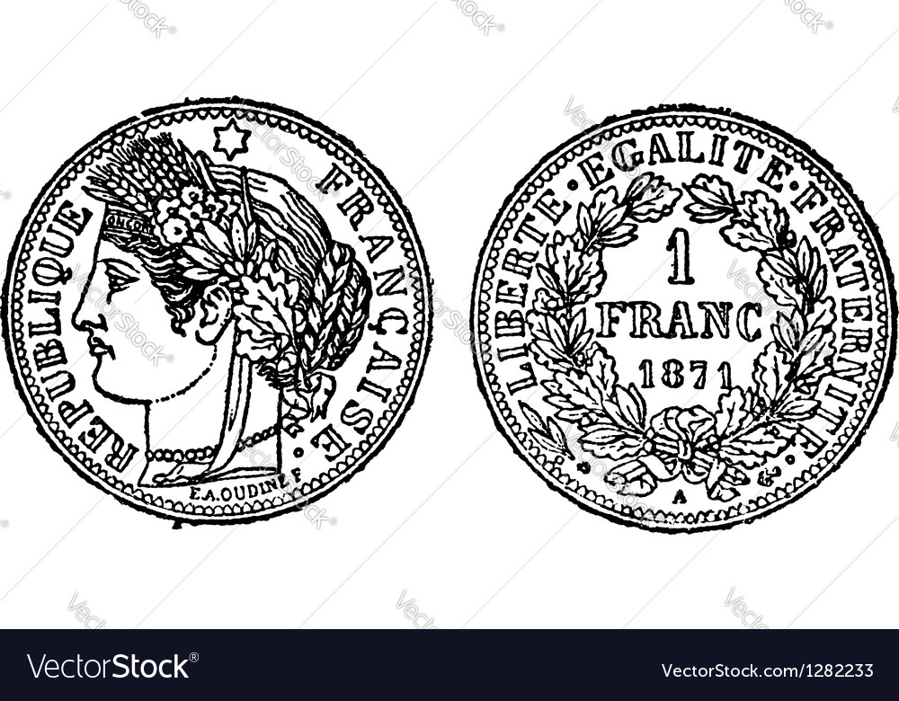 Silver franc vintage engraving vector | Price: 1 Credit (USD $1)