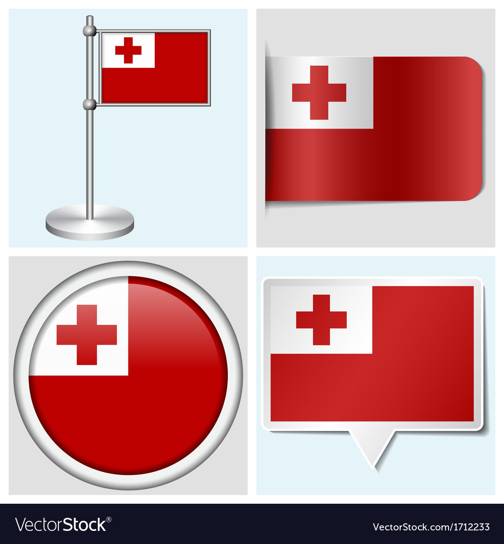 Tonga flag - sticker button label flagstaff vector | Price: 1 Credit (USD $1)