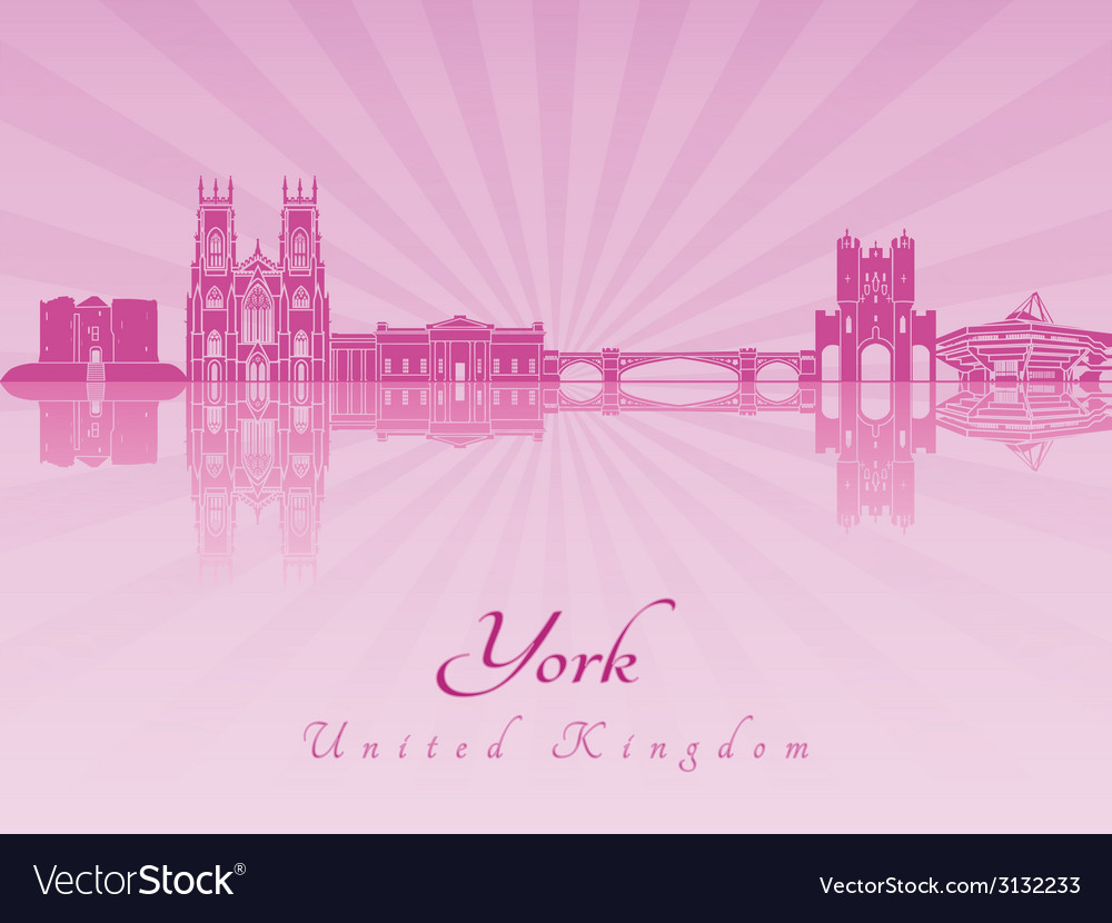 York skyline in purple radiant orchid vector | Price: 1 Credit (USD $1)