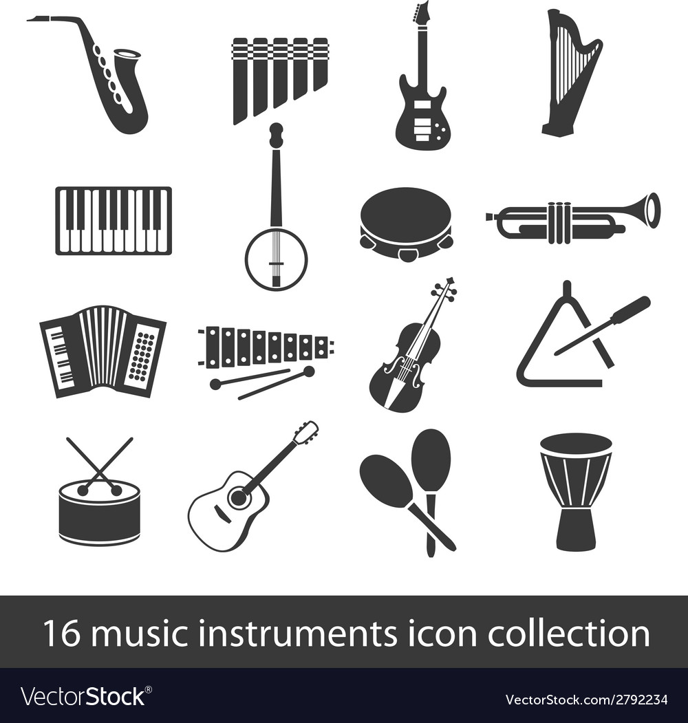 16 music instruments icon collection vector | Price: 1 Credit (USD $1)