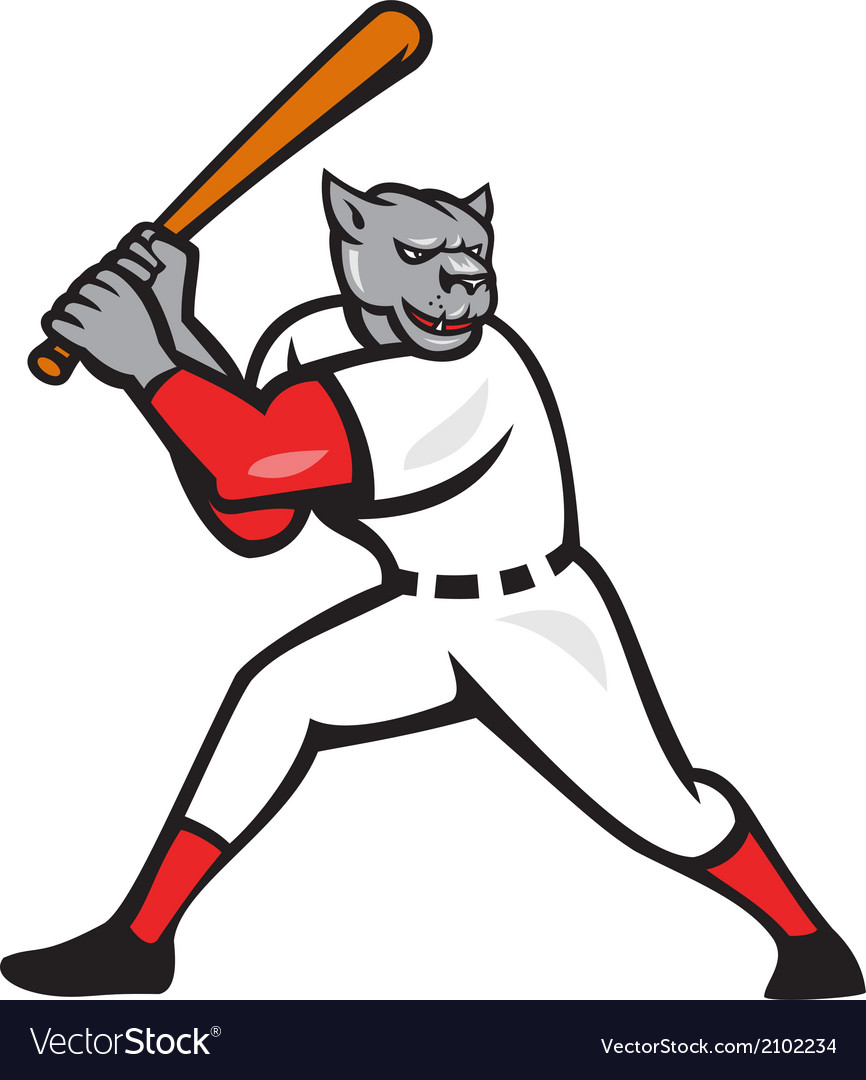 Black panther baseball player batting isolated vector | Price: 1 Credit (USD $1)