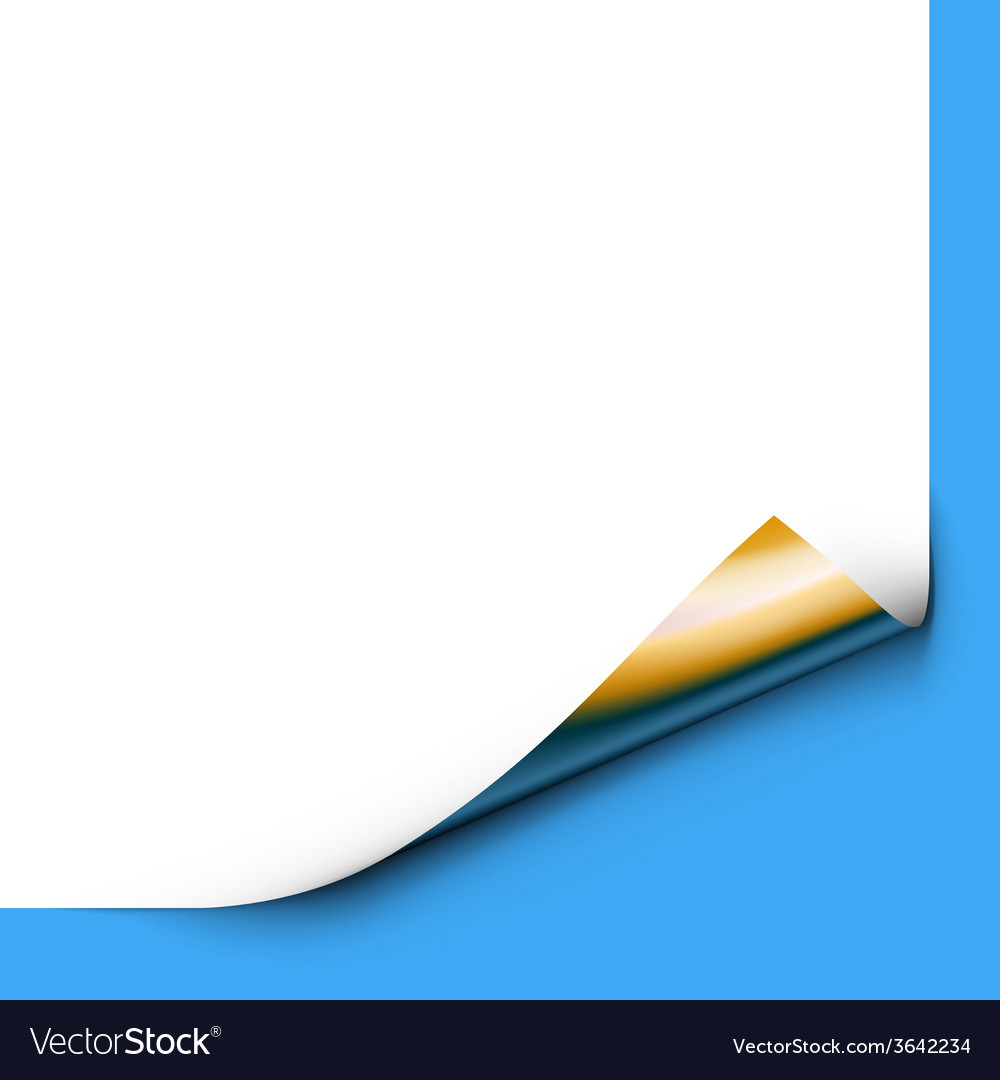 Curled up paper corner isolated on blue background vector | Price: 1 Credit (USD $1)