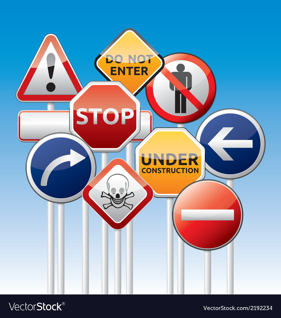 Danger traffic board mix collection vector | Price: 1 Credit (USD $1)