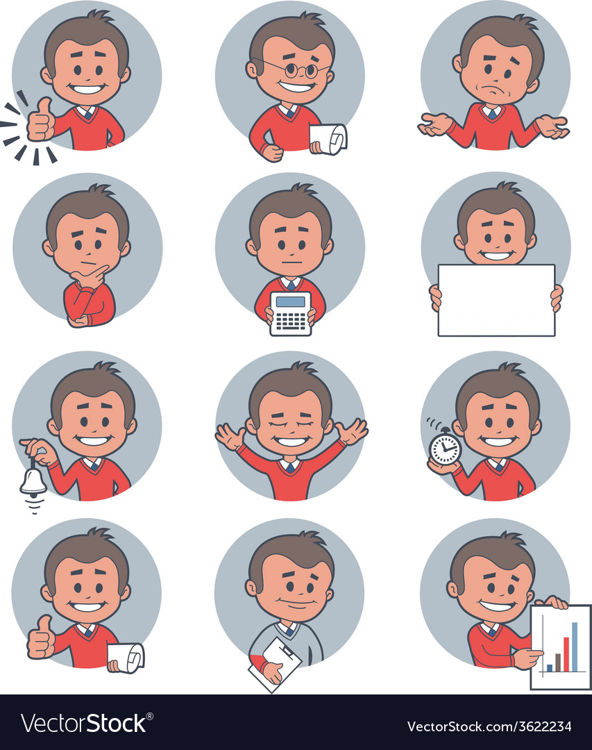 Flat people icons with business characters vector