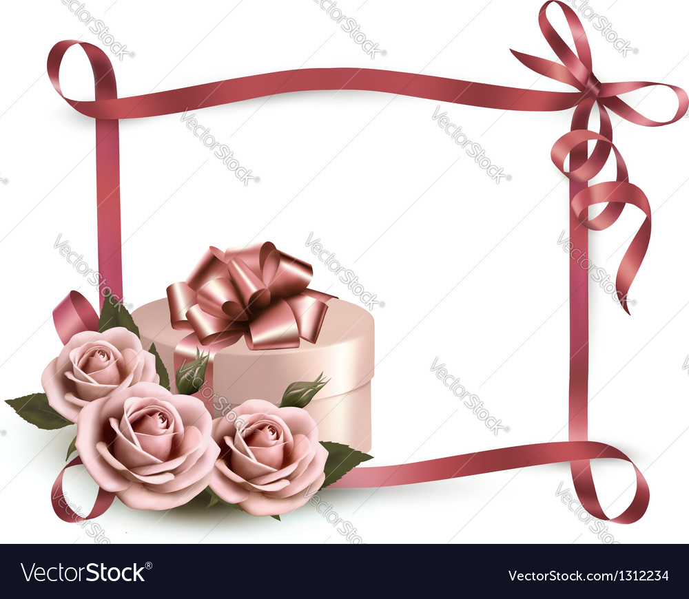 Holiday background with three roses and gift box vector | Price: 3 Credit (USD $3)
