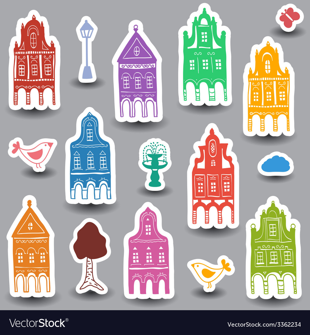 Houses doodles on colored background vector | Price: 1 Credit (USD $1)