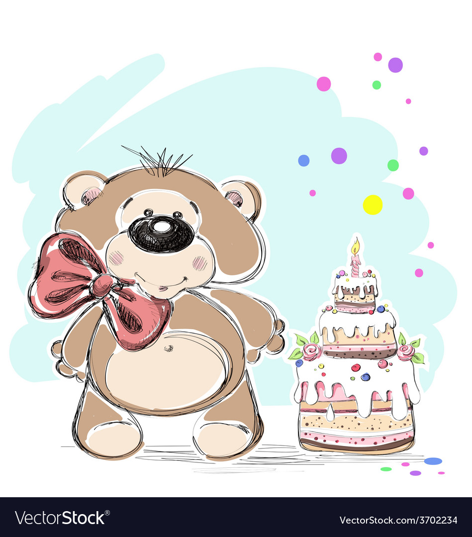 Nice little bear and cake vector | Price: 1 Credit (USD $1)