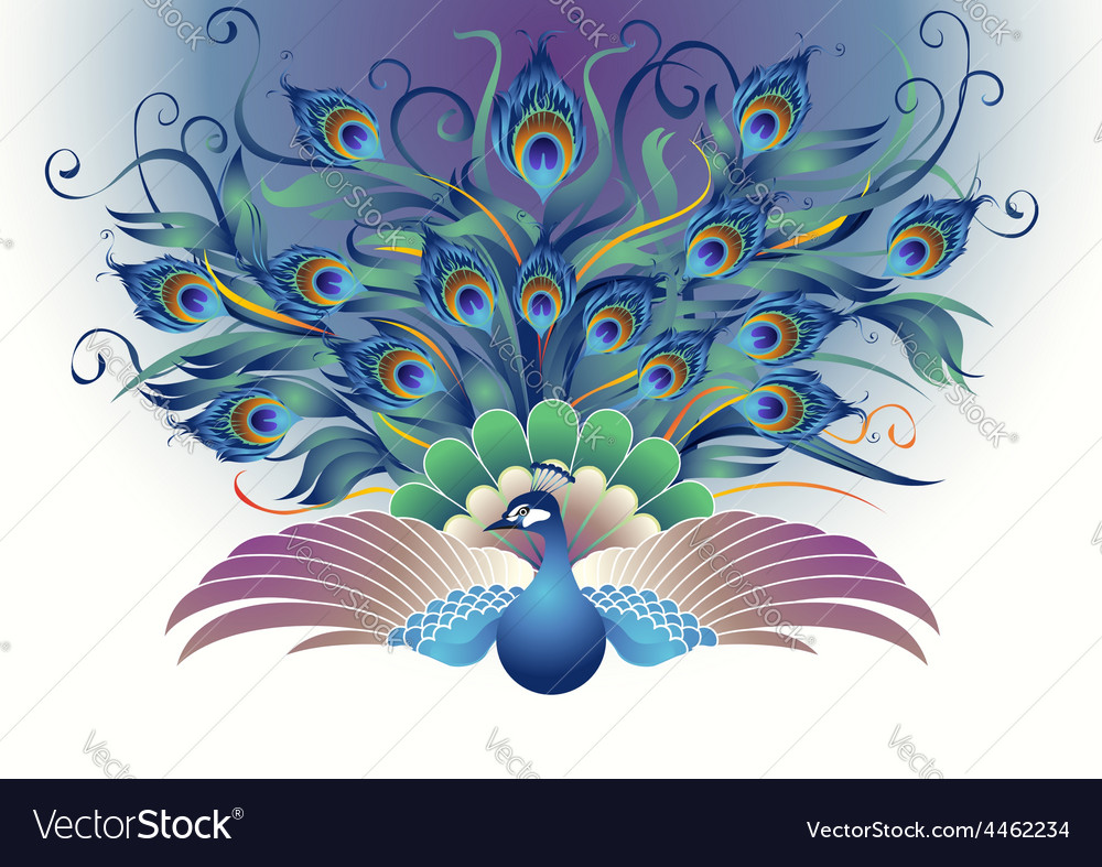 Peacock fly in a decorative style vector | Price: 1 Credit (USD $1)