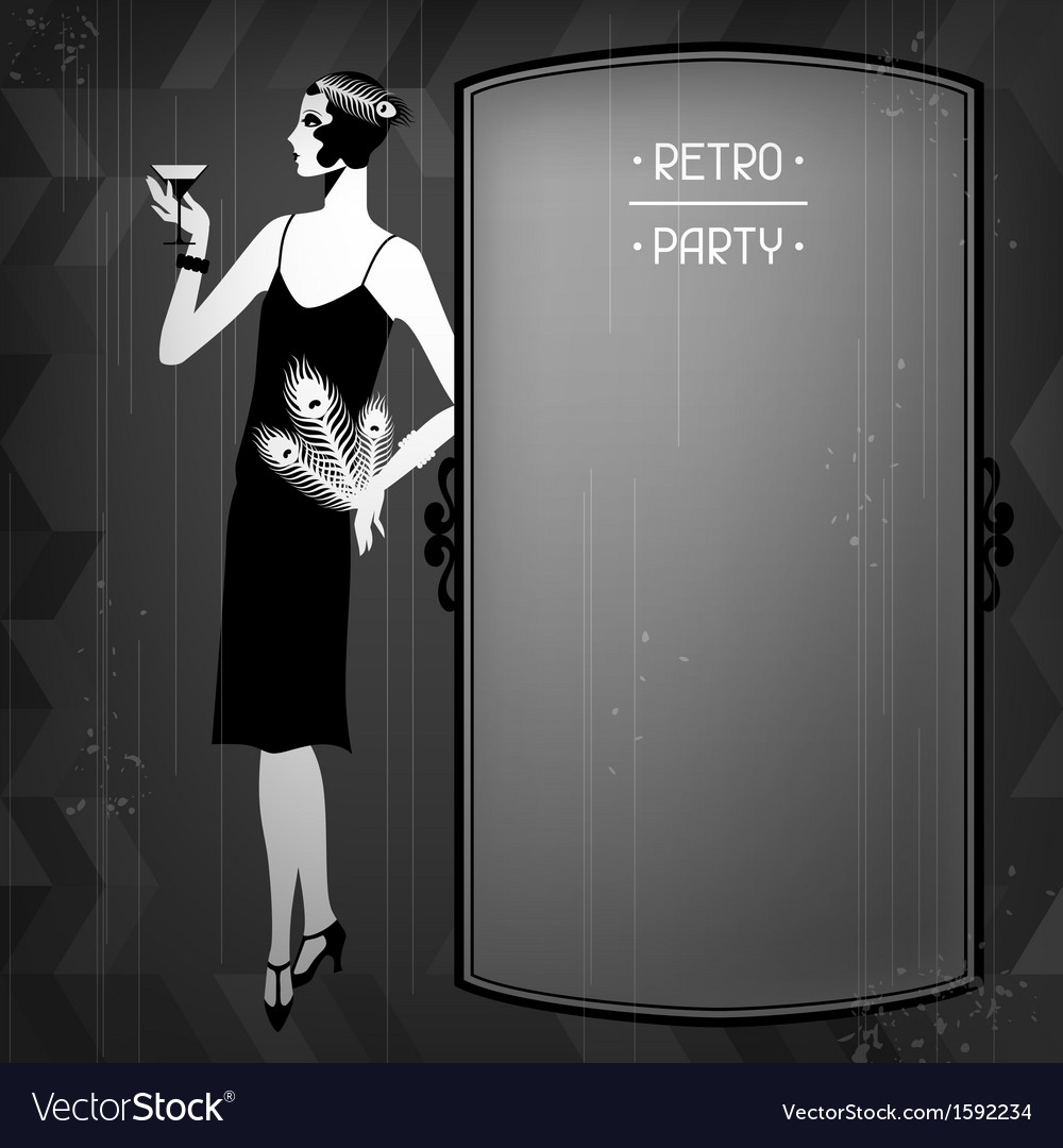 Retro party background with beautiful girl of vector | Price: 1 Credit (USD $1)