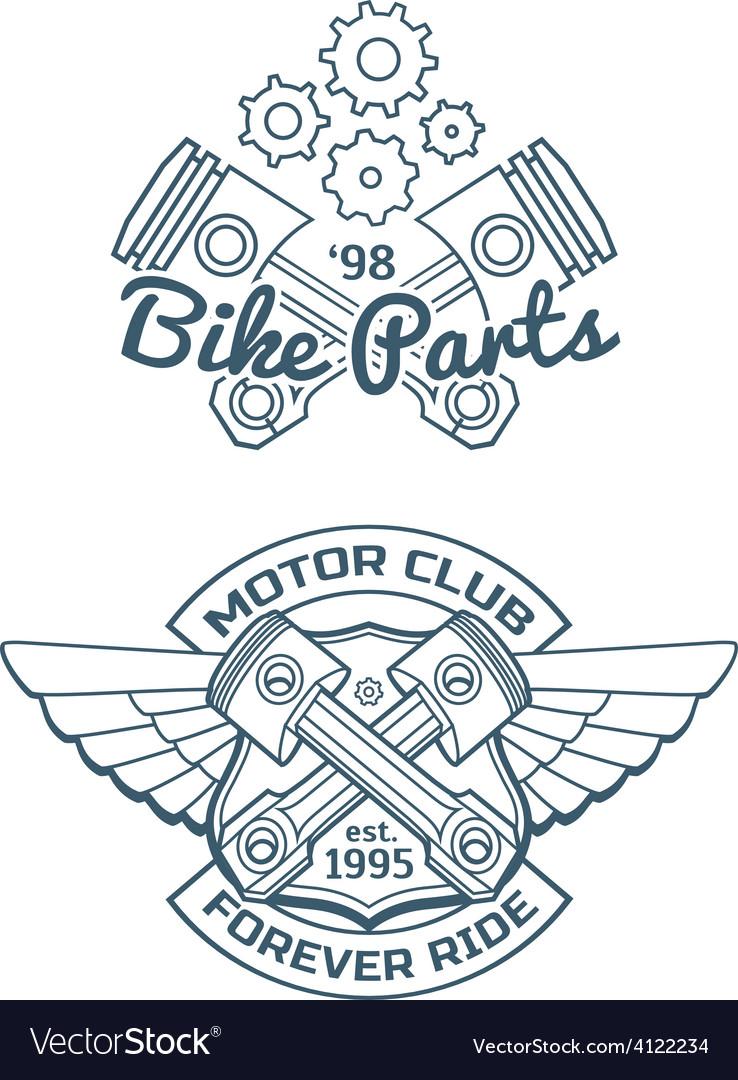 Set of biker badges vector | Price: 1 Credit (USD $1)