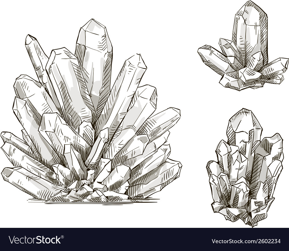 Set of crystals drawings vector | Price: 1 Credit (USD $1)