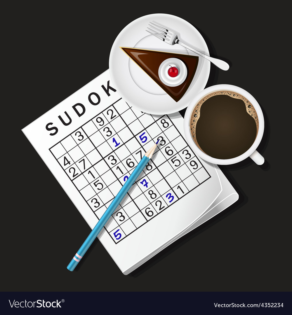 Sudoku game mug of coffee and cho vector | Price: 1 Credit (USD $1)