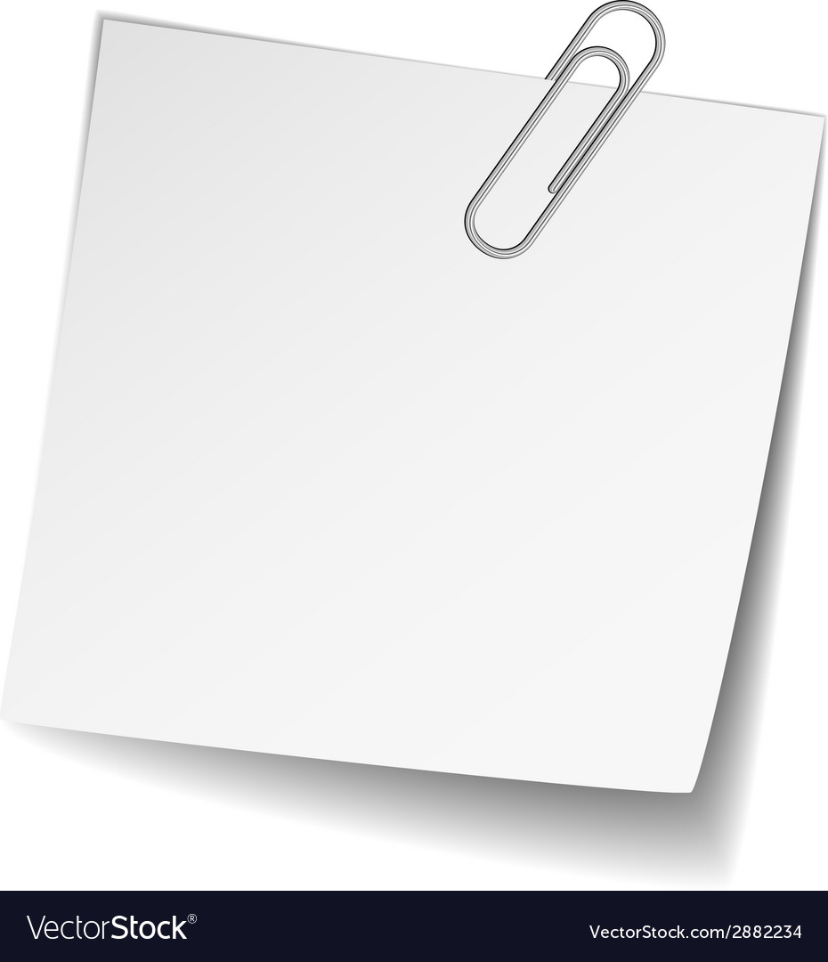 White note paper with paperclip vector | Price: 1 Credit (USD $1)