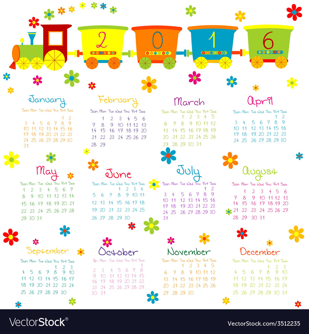 2016 calendar with toy train and flowers vector | Price: 1 Credit (USD $1)