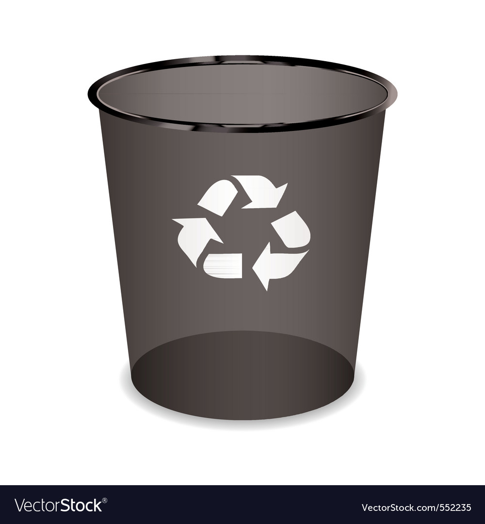 Black transparent trash or waste recycle bin vector | Price: 1 Credit (USD $1)